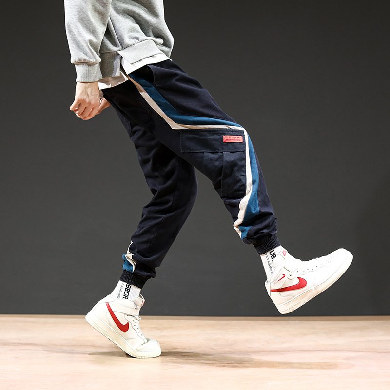 Trend Pure Cotton Pants Men Fashion Casual Pants Korean-style Loose-Fit Trousers Teenager Popular Brand Mixed Colors Stripes Tro