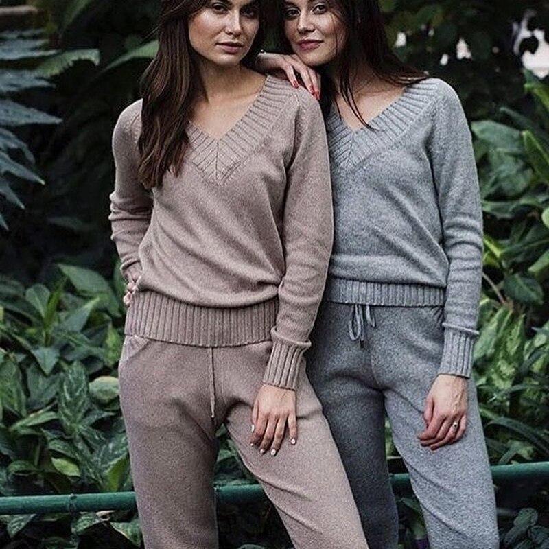 Женские комплекты свитеров из 2 предметов, спортивные костюмы, Осенние повседневные вязаные свитера, штаны, женские трикотажные брюки +