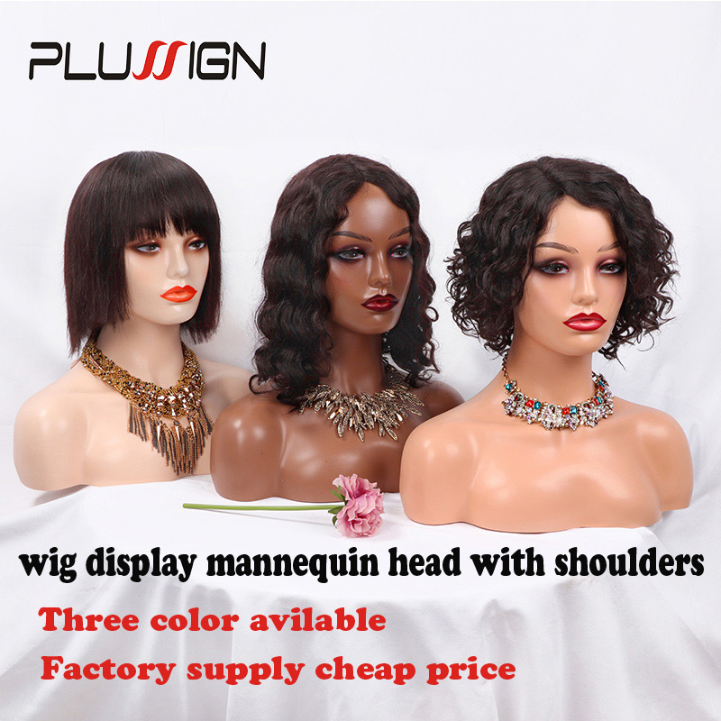 Mannequin Head With Shoulders Manikin Head Dark Brown Beige For Salon Or Hair Tools Shop Wig Display Model Female With Eyelashes