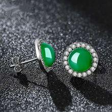 Натуральный зеленый нефрит халцедон круглые серьги серебро 925