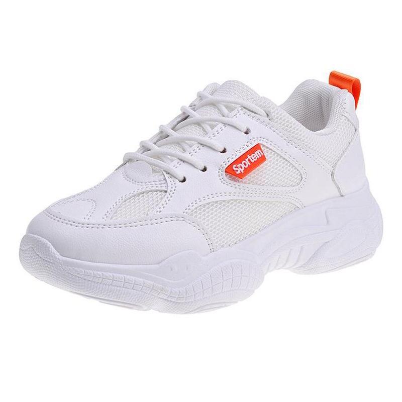 2019 женские кроссовки; сезон весна-осень; Белые Повседневные сетчатые туфли на платформе со шнуровкой; Женская Вулканизированная обувь;
