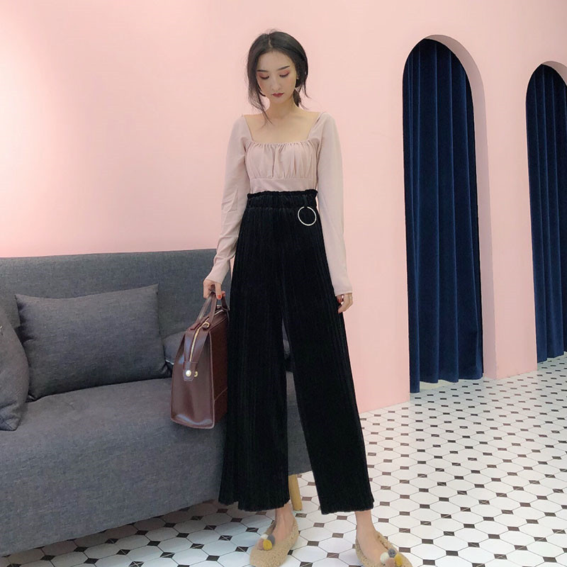 Focal20 Streetwear Solid Velvet Pleated Women Pants High Waist Wide Lag Female Trousers Ring Loose Spring Autumn Lady Bottoms