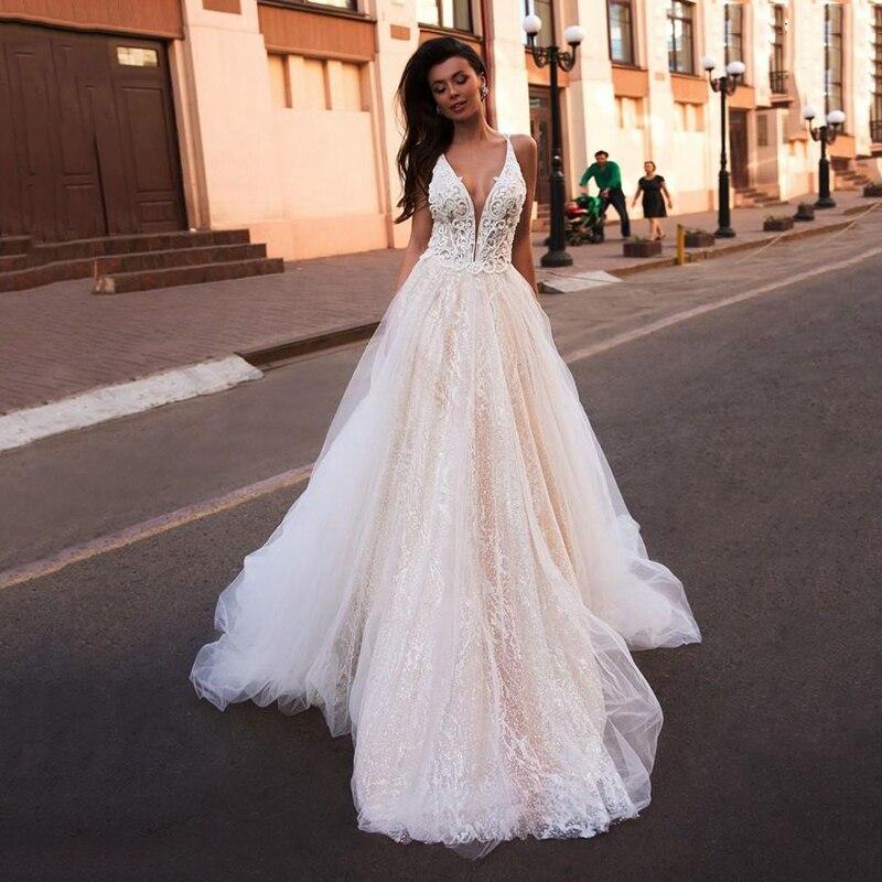 SoDigne 2020 Gown Bridal Sexy Deep V Neck Sleeveless Lace Appliques Wedding Dress Backless Beach Wedding Princess Dresses