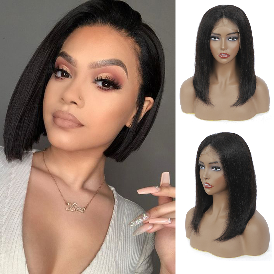 13x4 Bob Lace Front Wigs Short Bob Wig 8-14Inch with Bangs Lace Front  Wigs Pre Plucked 4x4 Lace Closure Bob Wigs 2