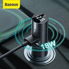 Baseus-transmetteur Bluetooth FM pour voiture, modulateur mains libres, 18W, 2 ports USB, chargeur rapide, adaptateur pour Radio MP3, lecteur MP3