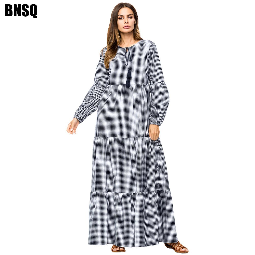 BNSQ Round Neck Long Sleeve Plaid Stitching Pleated Dress  Femme Muslim Dress Islamic Clothing