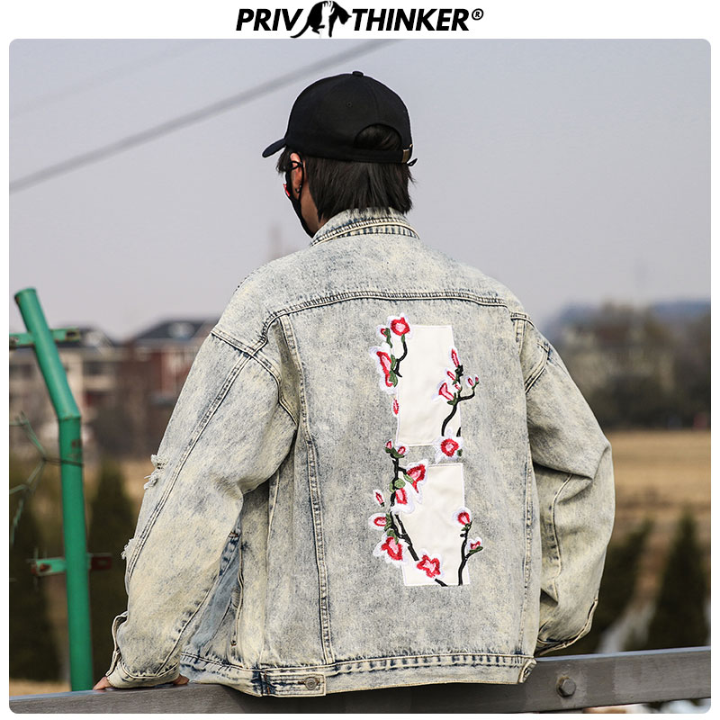 Privathinker Men Peach Blossom Embroidery Denim Jackets 2020 Mens Spring Hip Hop Denim Jacket Male Loose Streetwear Coat Clothes