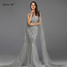 אפור יוקרה שרוולים דובאי עיצוב שמלות נשף 2020 O צוואר קריסטל ואגלי סקסי לנשף שמלות Serene היל BLA70160