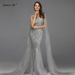 Image 1 - אפור יוקרה שרוולים דובאי עיצוב שמלות נשף 2020 O צוואר קריסטל ואגלי סקסי לנשף שמלות Serene היל BLA70160