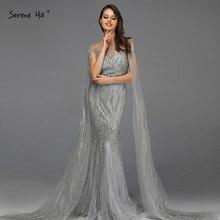 Grey Luxury Sleeveless Dubai Design Prom Dresses 2020 O Neck Crystal Beading Sexy Prom Gowns Serene Hill BLA70160