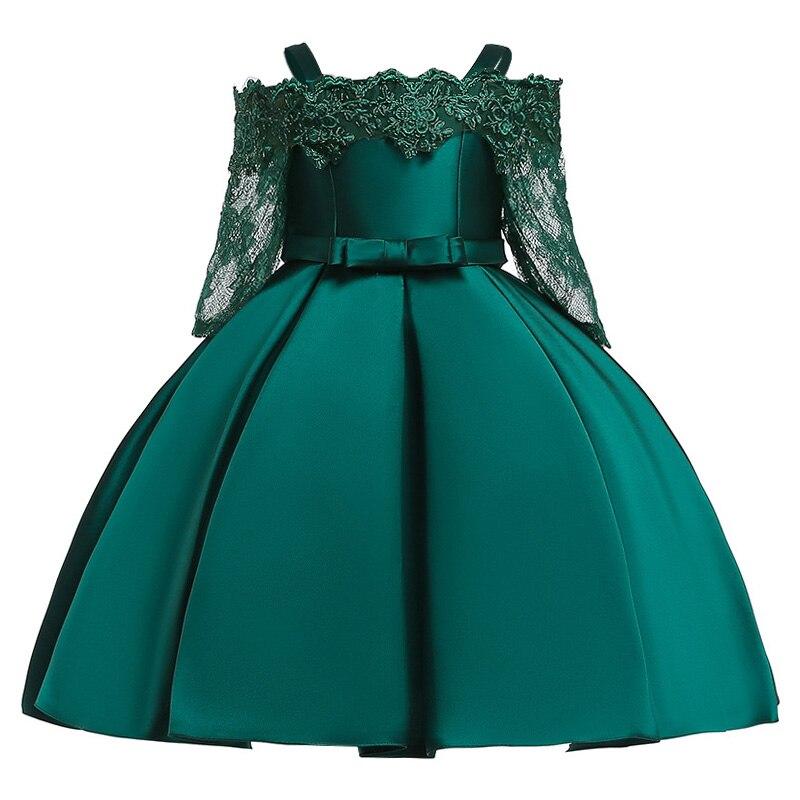 Новинка; платье принцессы для дня рождения, банкета, банкета, с бретельками; кружевное платье с цветочным узором для девочек на свадьбу; праздничное платье с рукавами; vestidos - Цвет: green