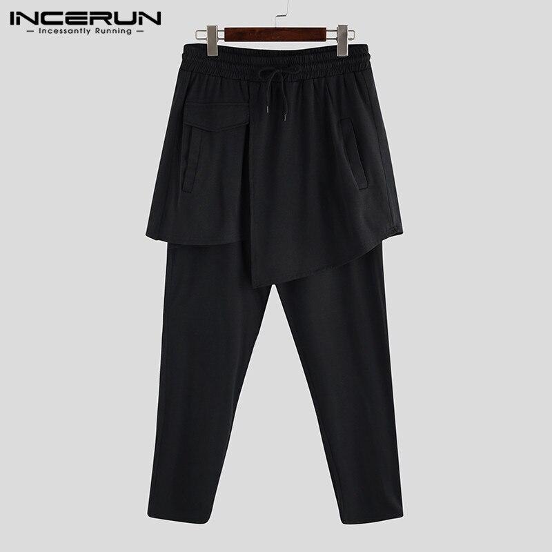 INCERUN Men's Harem Pants Plus Size 5XL Male Loose Wide Trousers Big Drop Crotch Joggers Casual Black Baggy Streetwear Overalls