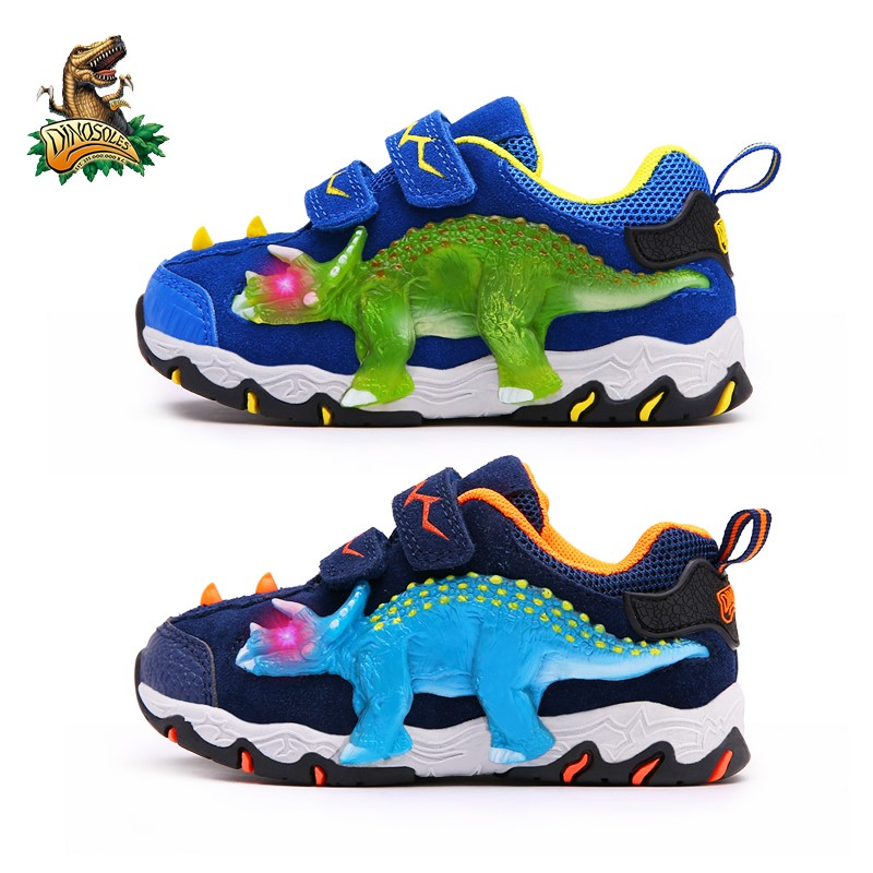 DINOSKULLS 3-10 Boys Autumn Shoes Dinosaur LED Glowing Sneakers 2020 Children's Sports Shoes 3D T-rex Kids Genuine Leather Shoes 4