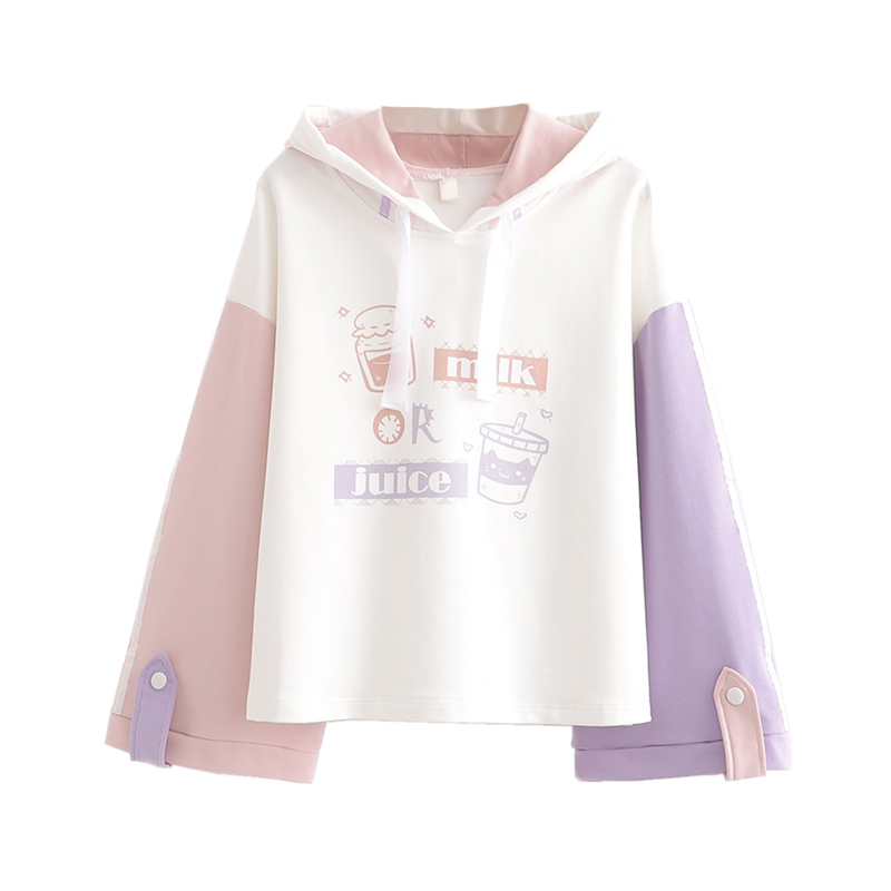 Merry Pretty Cotton Women's Cartoon Print Harajuku Hoodies Sweatshirts 2020 Spring Long Sleeve Contrast Color Hooded Tracksuits