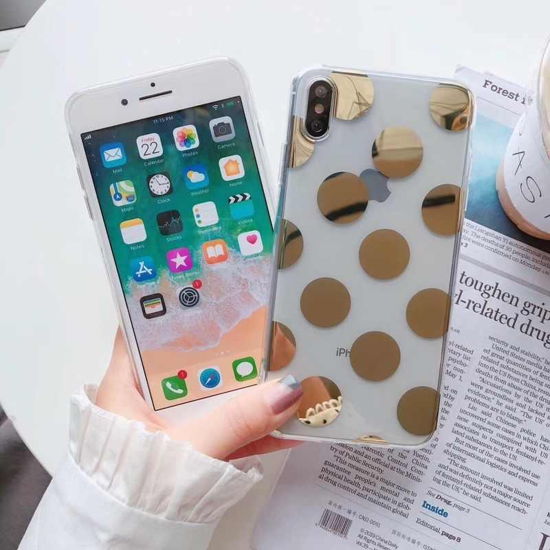 Elettrolitico Polka Dots Star Trasparente di Caso Per il iphone 6 6s 7 8 Più Molle IMD Cover In Silicone Per iPhone X XS XR XS Max Custodie