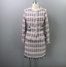 New Woolen Pink Plaid Socialite Style Skirt 2-piece Coat Half-body Skirt 2019 O-Neck Knee-Length Single Breasted Two Piece Sets недорого