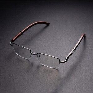 Мужские оправы для очков Vazrobe, брендовые дизайнерские полуоправы для оптических линз, деревянные оправы