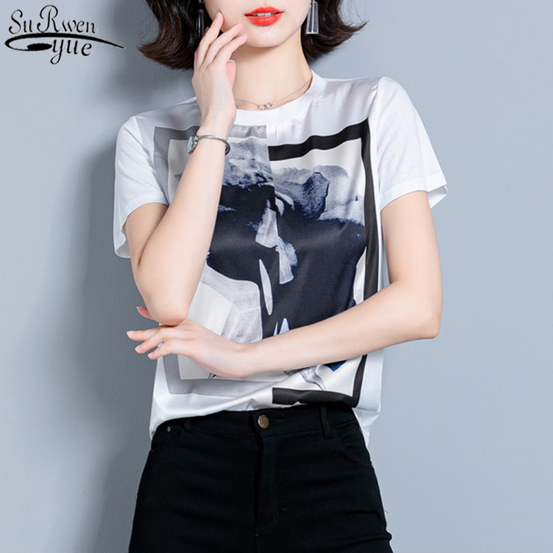 2020 Summer New Fashion Plus Size Loose Clothes Print Shirt O-Neck Silk Women Blouses Short Sleeve Women Tops and Blouses 10158