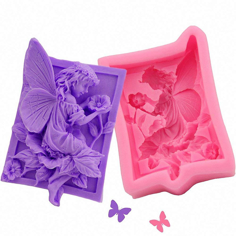 Fairy angel flower 3D resin clay silicone molds DIY handmade soap mold silica gel mould Newest Design