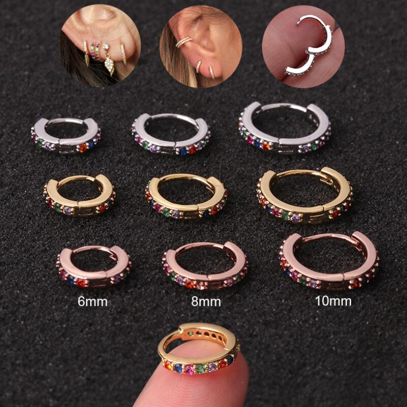 2020 New Fashion 1Pc Multicolor Cz Hoop Cartilage Earring Helix Cartilage Earring Daith Snug Conch Ear Piercing Jewelry