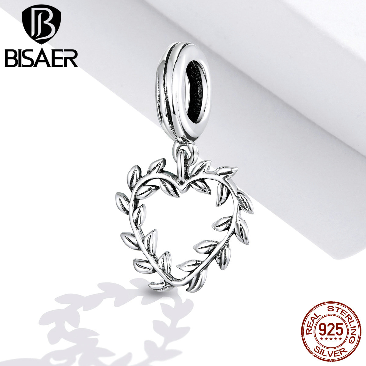 BISAER Branches Charm 100% 925 Sterling Silver Heart Flower Beads Pendant DIY Bracelets Necklace Fashion S925 Jewelry ECC1520