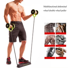 цена на Wheels Roller Stretch Elastic Abdominal Resistance Pull Rope Tool  roller for Abdominal muscle trainer exercise