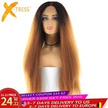 X TRESS ארוך קינקי ישר סינטטי שיער תחרת פאות עבור נשים Ombre חום בלונד צבע תחרה מול פאה עם שיער טבעי