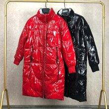 特大光沢のある冬のコートの女性の冬のロングジャケット防風暖かいパッド入りのコート光沢のある女性のファッションパーカー