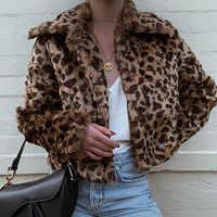 Goocheer leopardo impressão jaqueta de inverno feminino fofo pele do falso ursinho de pelúcia casaco chita lã cardigan outerwear casacos quentes