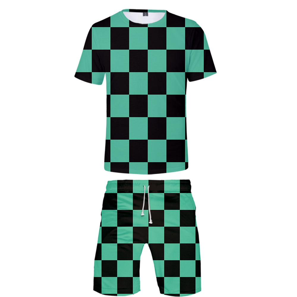 2019 Demon Slayer Two Piece Set Tshirt And Shorts Harajuku Men Cosplay T Shirt Streetwear Harajuku Short Sleeve Plus Size