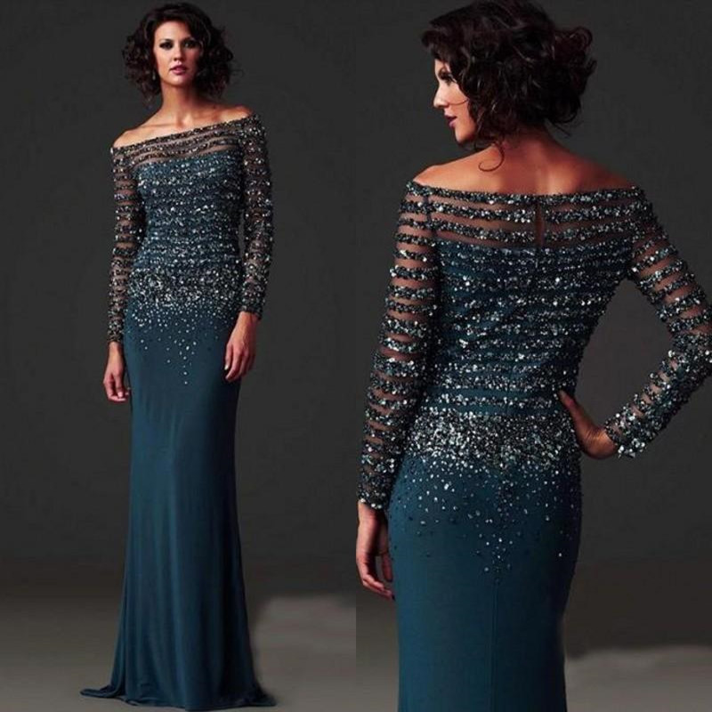 Long Sleeves Mother Dresses 2016 Beading Floor Length Chiffon Off-the-Shoulder Mother Of The Bride Dresses Women Evening Dresses