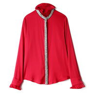 High Quality 97% Natural Silk Beading Blouse Women Poplin High Street Stand Flare Sleeve Fashion Womens Clothing red