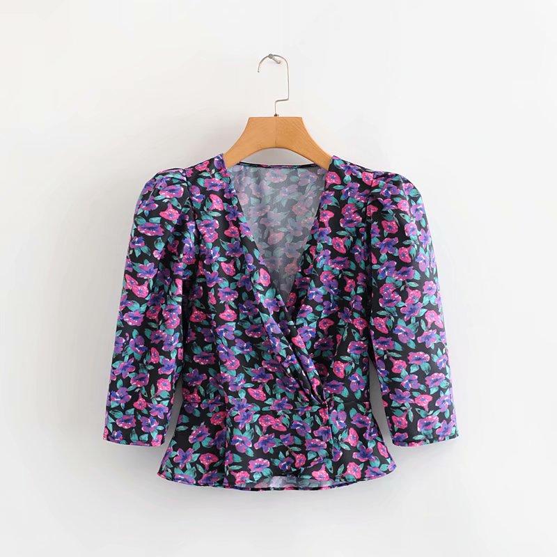 New 2020 Women V Neck Puff Sleeve Flower Print Shirt Elastic Waist Chic Blouses Women Roupas Femininas Chemise Tops LS6588