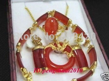 free shipping > Retro Red Baguette JADE 18KGP Women Ring Earrings Bracelet Pendant Necklace Set(China)