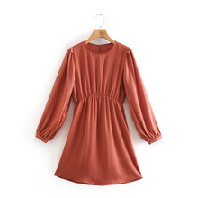 Women Vintage Sashes Satin A Line Lantern Sleeve O Neck Solid Elegant Casual Party Dresses Spring Summer Office Lady NZ0243