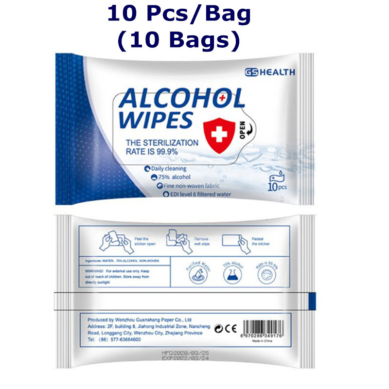 10 Packs Disinfection 75% Alcohol Wipes Disposable Sterilizing Wet Wipes Cleansing Hand Sanitizer Wipes