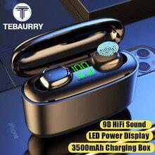TWS Bluetooth V5.0 Earphones Wireless Headphones Sport HD Stereo Earbuds Waterproof Headset with Microphone 3500mAh charging Bin