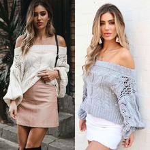 One shoulder stencil sweater women2019 autumn and winter loose womens pullover
