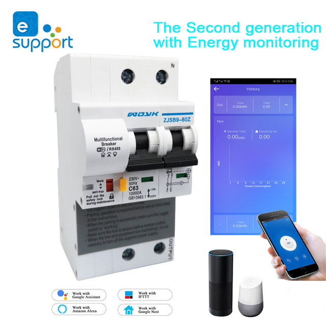 EWeLink WiFi 2P 63A חכם מתג מפסק עם אנרגיה ניטור צריכת חשמל צג מדידה לעבוד עם Alexa