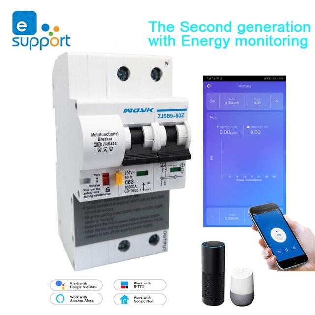 Ewelink Wifi 2P 63A Smart Stroomonderbreker Schakelaar Met Energie Monitoring Stroomverbruik Monitor Meting Werken Met Alexa