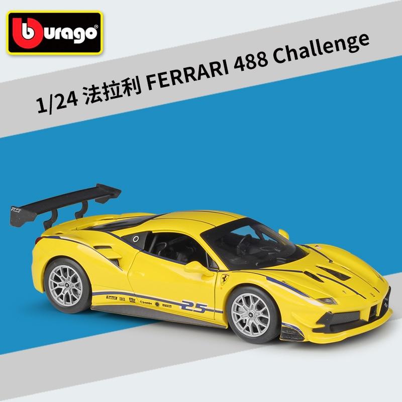 Burago 1:24 Diecast Alloy Car Model Toy For Ferrari 488 Challenge Metal Car With Original Box For Man Gfit