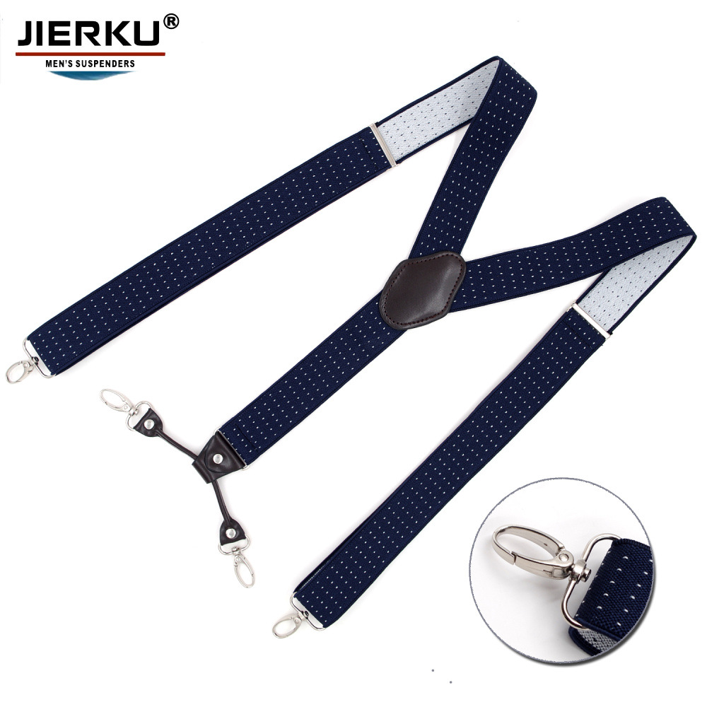 Cross Border Supply Of Goods Adult Men Hook Buckle Suspender Strap 4 Clip Jacquard Suspender Strap Stainless Buttons Electricity