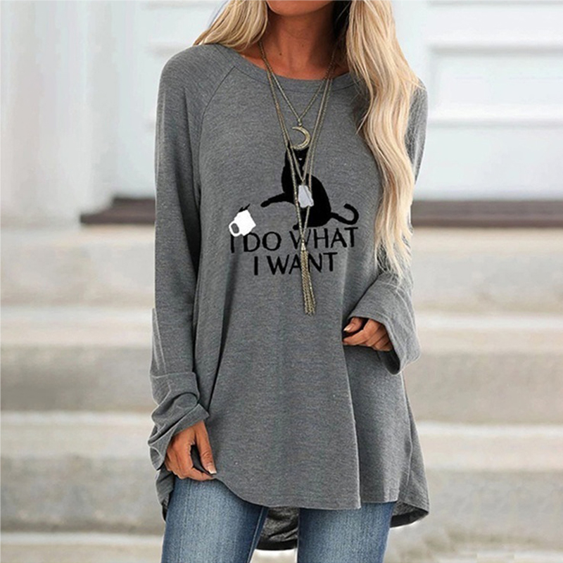 Women's autumn fashion T-shirt mid-length round neck printed long-sleeved loose shirt women