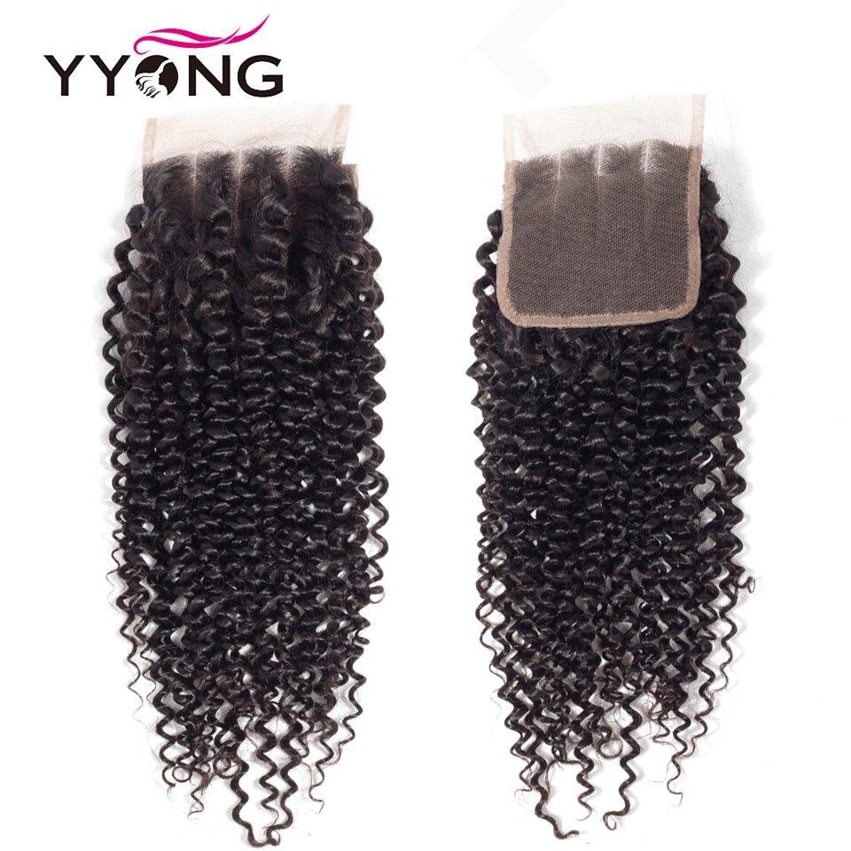 Yyong-100% de pelo rizado brasileño con cierre de encaje, pelo humano Remy, nudos blanqueados, línea de pelo Natural, 4X4