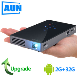 AUN MINI Projektor D5S, Android 7.1 (RAM: 2G + ROM: 32G) WIFI, 5000mAH Batterie, Tragbare LED Projektor für 1080P Video, 3D beamer