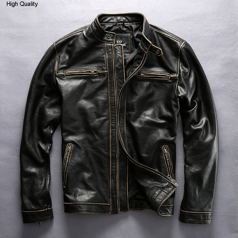 Men's Vintage Genuine Leather Jacket With Pockets Korean Style Stand Collar Slim Fit Cow Leather Coat Men Motorcycle Jacket Male