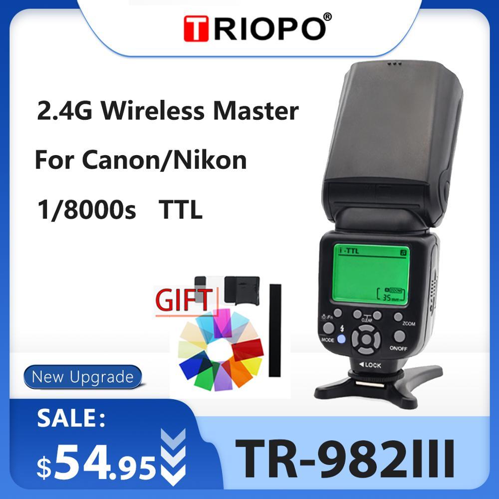 Triopo TR 982III luz de Flash TR982III Speedlite alta velocidad sincrónico i TTL Flash 2,4G esclavo maestro inalámbrico para CANON /NIKON-in Flashes from Productos electrónicos    1