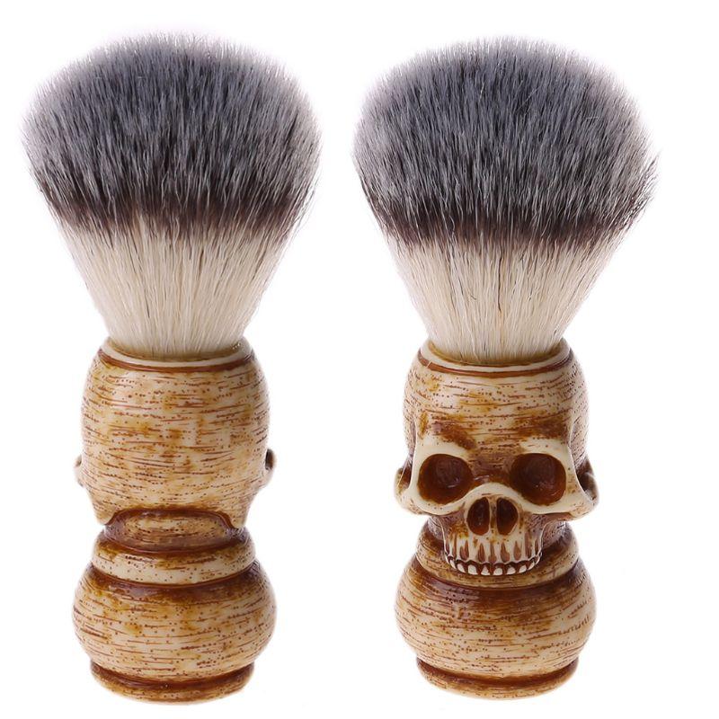 Shaving Brush Badger Bristle Hair Skull Hand Made Wooden Handle -Men's Gift