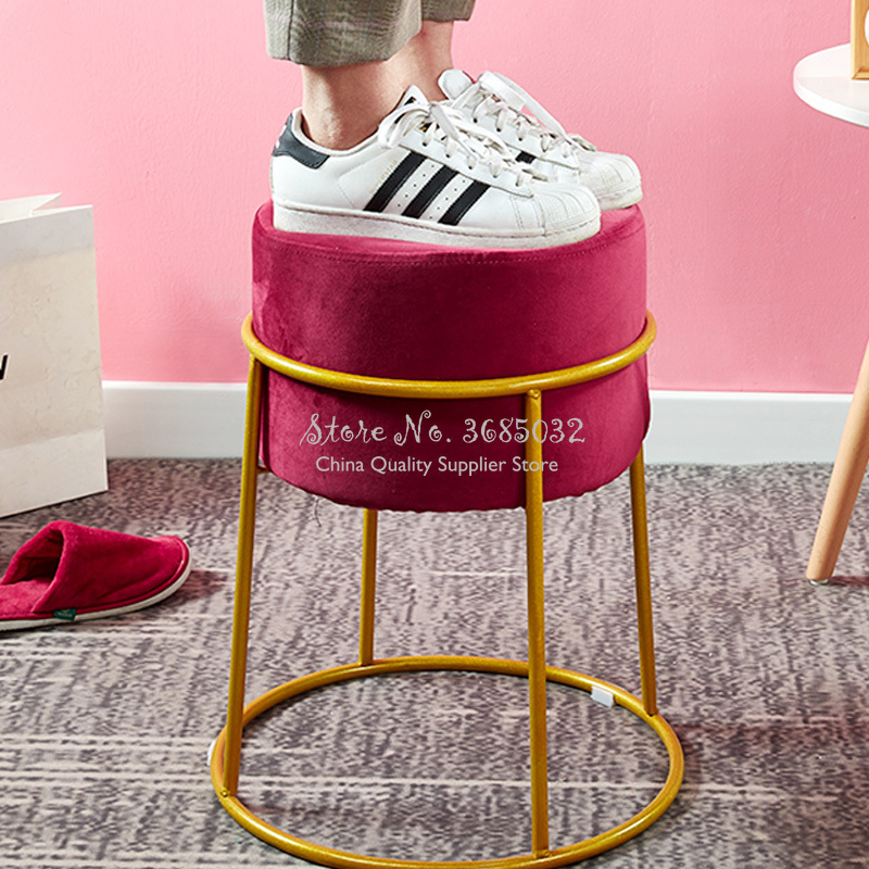 Nordic Iron Golden Makeup Stool Creative Luxurious Flannel Ottomans Simple Modern Pouf Fabric Shoe Bench Home Shoe Change Stool