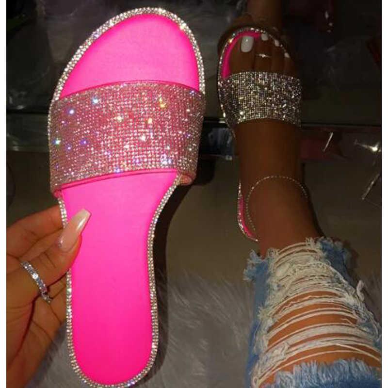 Nan jiu montanha 2019 verão feminino plana chinelos sandálias strass doces-colorido sola listras sexy festa mulher sapatos